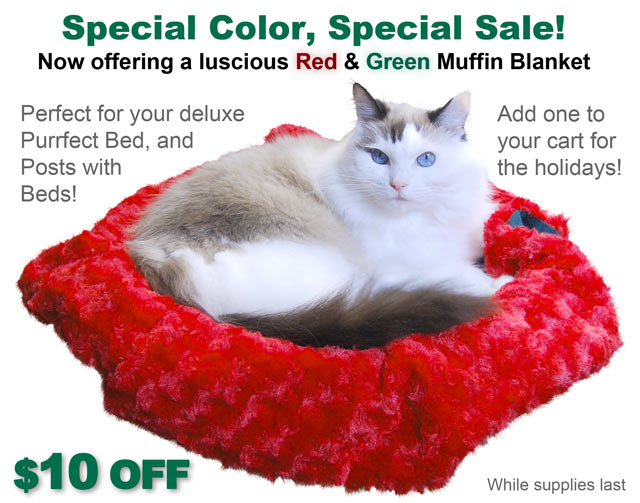 Special Color, Special Sale - Now offering a luscious Red and Green Muffin Blanket for $10 off. The perfect addition to your bed endowed post.